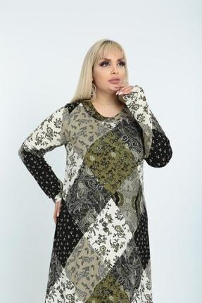 Şirin Butik Kadın Haki Yaka Pervazlı Viskon Elbise 4