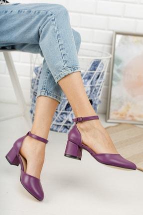MERVE BAŞ Mor Cilt Bilekten Tek Bant Kalın Topuklu Klasik Ayakkabı 1