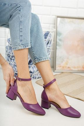 MERVE BAŞ Mor Cilt Bilekten Tek Bant Kalın Topuklu Klasik Ayakkabı 2