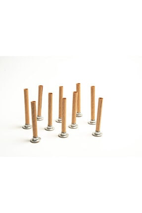 RufusConcept Dairesel Ahşap Mum Fitili ve Yapışkanlı Sehpa - 10 Adet ( Yükseklik: 75mm Çap: 8mm ) 1