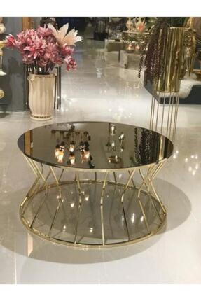 Dora Gold Orta Sehpa 80 Cm Çapında 45 Cm Yükseklik Bronz Aynalı 0