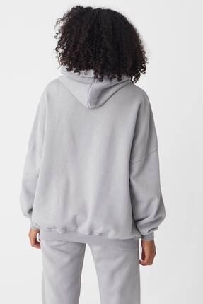 Addax Kadın Gri Kapüşonlu Sweatshirt S0519 - P10V1 Adx-0000014040 4