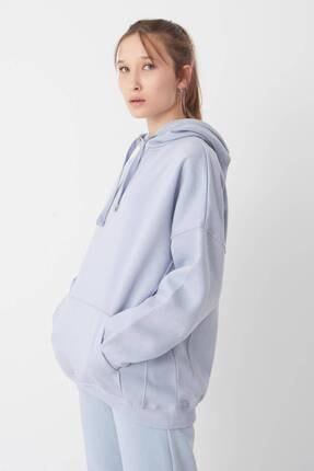 Addax Kadın Buz Mavi Kapüşonlu Sweatshirt S0519 - P10V1 Adx-0000014040 1