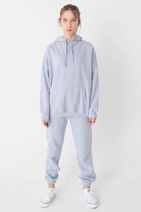 Addax Kadın Buz Mavi Kapüşonlu Sweatshirt S0519 - P10V1 Adx-0000014040 3