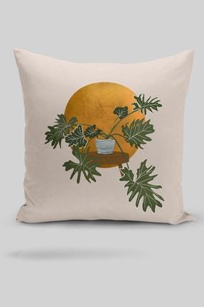 Little Touch Navajo Beyazı Zeminde Minmalist Bitki Tasarımlı Dijital Baskılı Kırlent Kılıfı 0