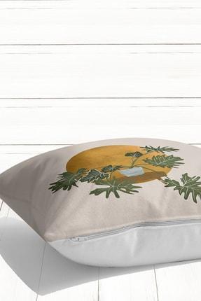 Little Touch Navajo Beyazı Zeminde Minmalist Bitki Tasarımlı Dijital Baskılı Kırlent Kılıfı 2