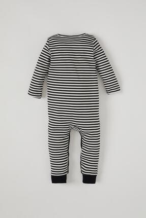 Defacto Erkek Bebek Çizgi Desenli Uzun Kol Çıtçıtlı Pamuklu Tulum 3