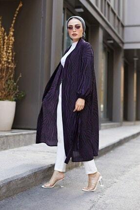 Elifnur Kadın Mor Desenli Kimono 8889-9 2