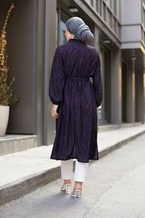 Elifnur Kadın Mor Desenli Kimono 8889-9 4