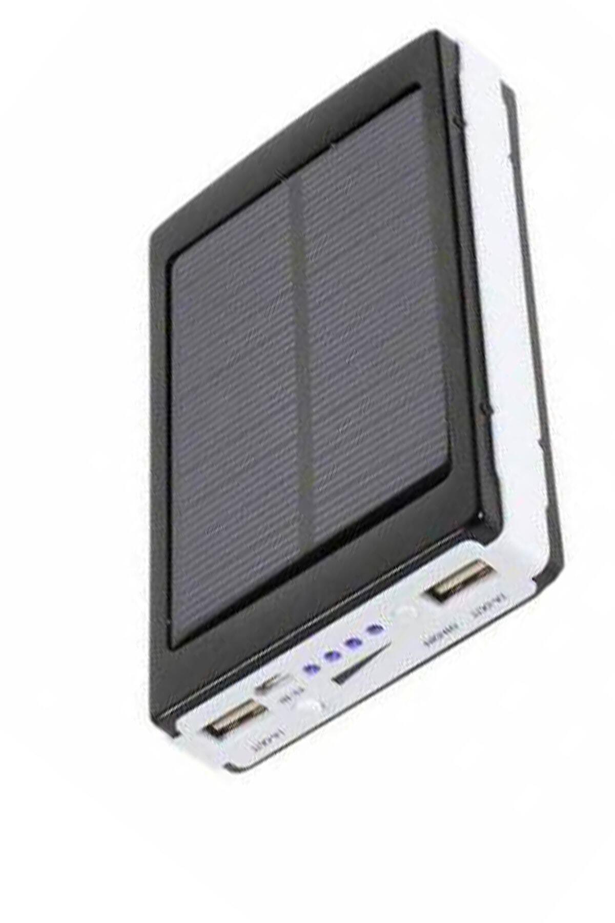 Solar Powerbank 18000 Mah Güneş Enerjili Powerbank 20 Led Işıklı - 2 Usb Girişli Kamp Çadır Işığı
