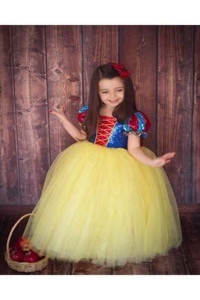DEHAMODA Kız Çocuk Sarı Kabarık Pelerin ve Taç Pamuk Prenses Kostümü 3