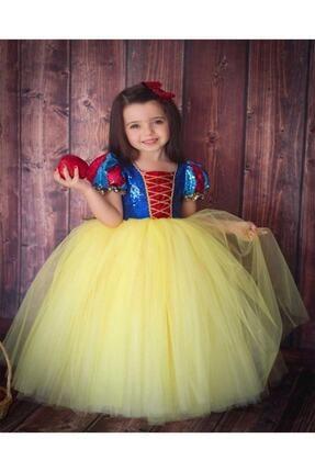 DEHAMODA Kız Çocuk Sarı Kabarık Pelerin ve Taç Pamuk Prenses Kostümü 4