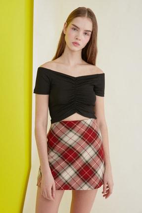 TRENDYOLMİLLA Siyah Carmen Yaka Örme Bluz TWOSS21BZ0908 3