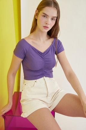 TRENDYOLMİLLA Mor Carmen Yaka Örme Bluz TWOSS21BZ0908 2