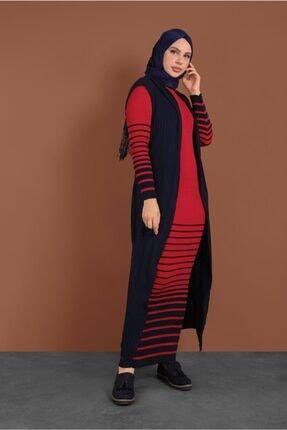 Kadın Kırmızı Çizgili Örme Yelekli Takım 2424 20KELBTR2424