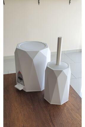 Elif Beya Plastik 5 l Çöp Kovası ve Tuvalet Fırçası Geo 2'li Banyo Seti 1