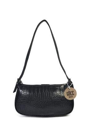 Güce Kadın Siyah Kroko Desenli İnce Zincirli Baget Çanta Gc011500k 2