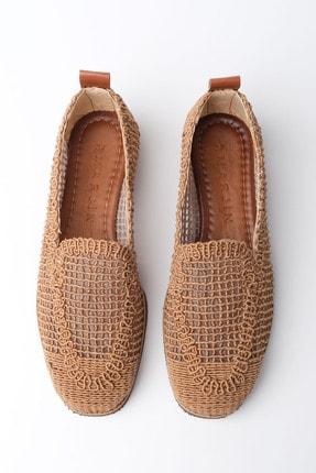 Marjin Kadın Taba Toliva Örgü Hasır Loafer Ayakkabı 4