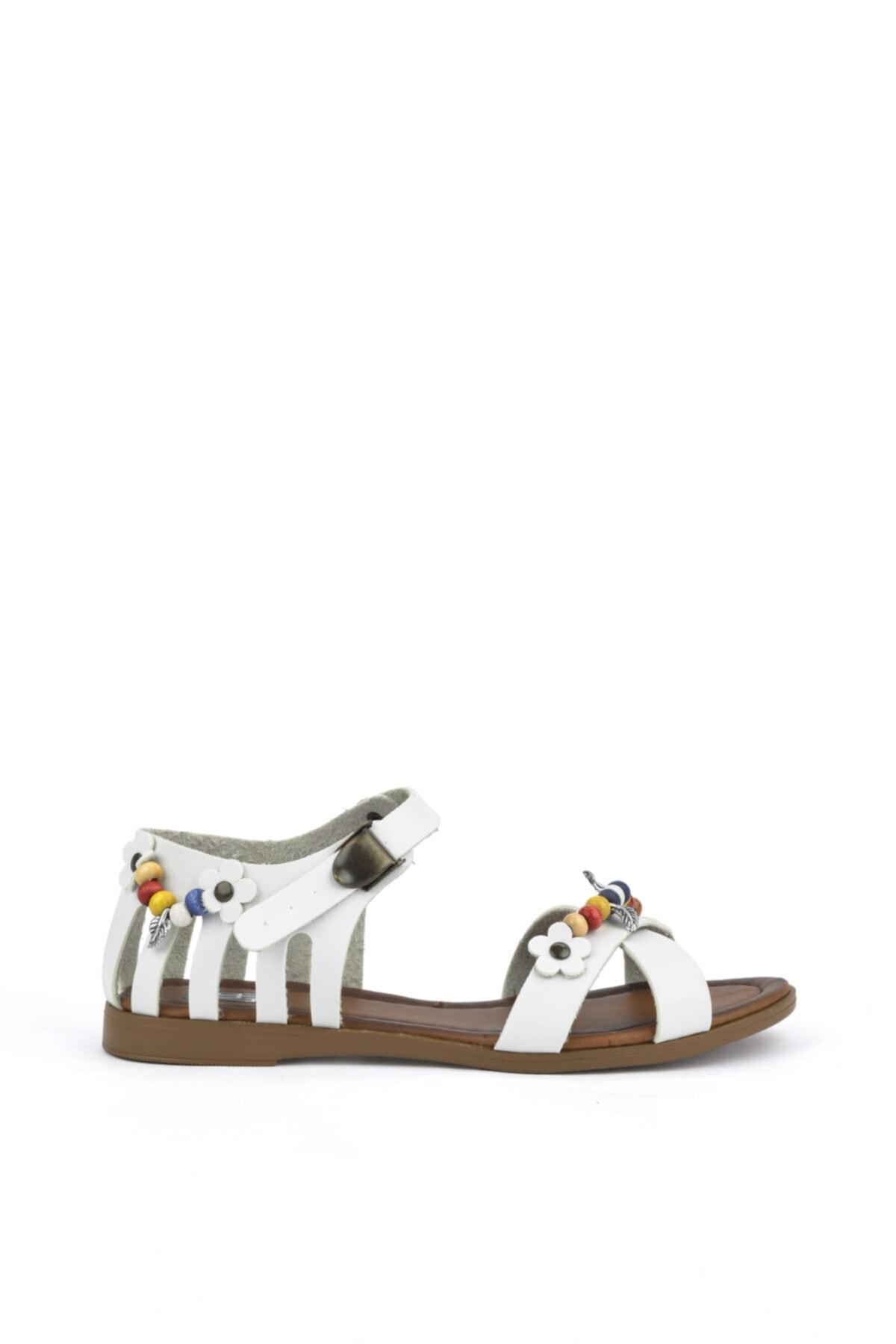, Kadın Hakiki Deri Sandalet 111415 Z311005 Beyaz