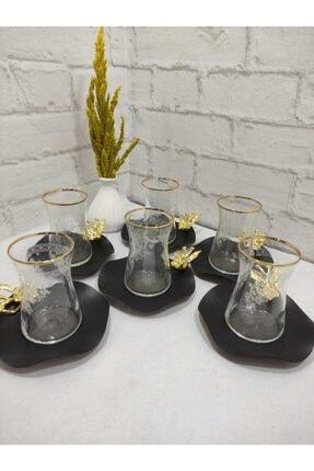 Limyacam 6 Kişilik Mat Sade Özel Tasarım Japon Çiçeği Çay Seti 1