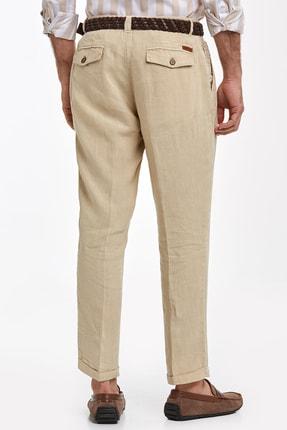 Hemington Erkek Kum Rengi Saf Keten Pileli Pantolon 2