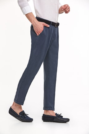 Hemington Erkek Lacivert Saf Keten Pileli Pantolon 3