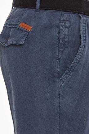 Hemington Erkek Lacivert Saf Keten Pileli Pantolon 4