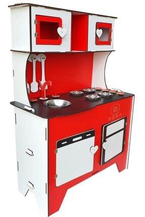 WoodyLife 104 cm Çocuk Odası Ahşap Mutfak Montessori Oyuncak Dolabı Kırmızı Zeytindalı Oyunevi 1