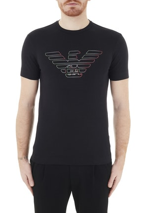 Emporio Armani Erkek Siyah Logo Baskılı Bisiklet Yaka Pamuklu T Shirt 3k1tca 1j11z 0999 0