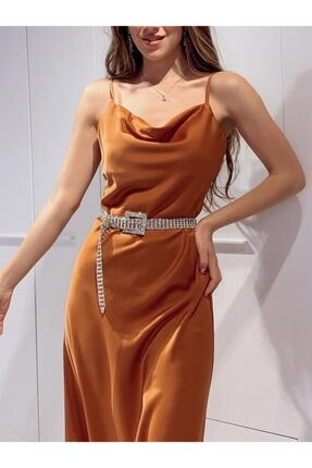 Cappole Kadın Saten Kiremit Elbise 1