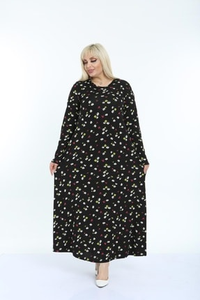 Şirin Butik Kadın Siyah Papatya Desenli Yaka Pervazlı Viskon Elbise 1