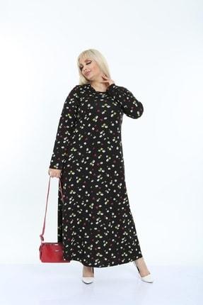Şirin Butik Kadın Siyah Papatya Desenli Yaka Pervazlı Viskon Elbise 4