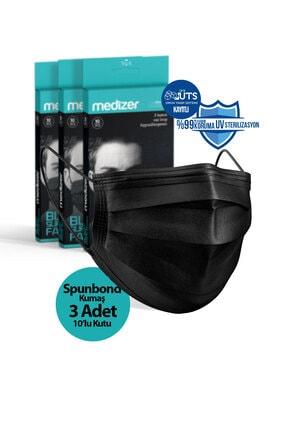 Sabomar Medizer Full Ultrasonik Cerrahi Ağız Maskesi 3 Katlı Spunbond Kumaş 10'lu 3 Kutu -burun Telli -siyah 0