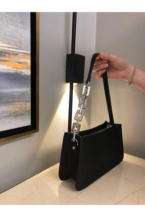 hanbag Kadın Siyah Zincir Detaylı Baget Çanta 3