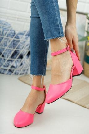 MERVE BAŞ ® Pembe Cilt Bilekten Tek Bant Kalın Topuklu Klasik Ayakkabı 2