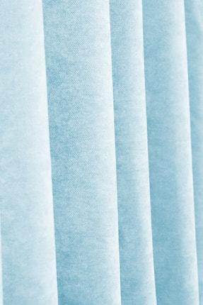 Evdepo Home Petek Kadife Dokulu Fon Perde Pilesiz Düz Dikişli Ekstrafor Büzgü Açık Mavi 4