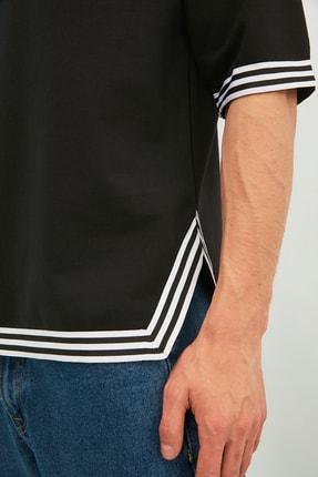 TRENDYOL MAN Siyah Erkek Oversize Şerit Detaylı Sweatshirt TMNSS21SW0243 4