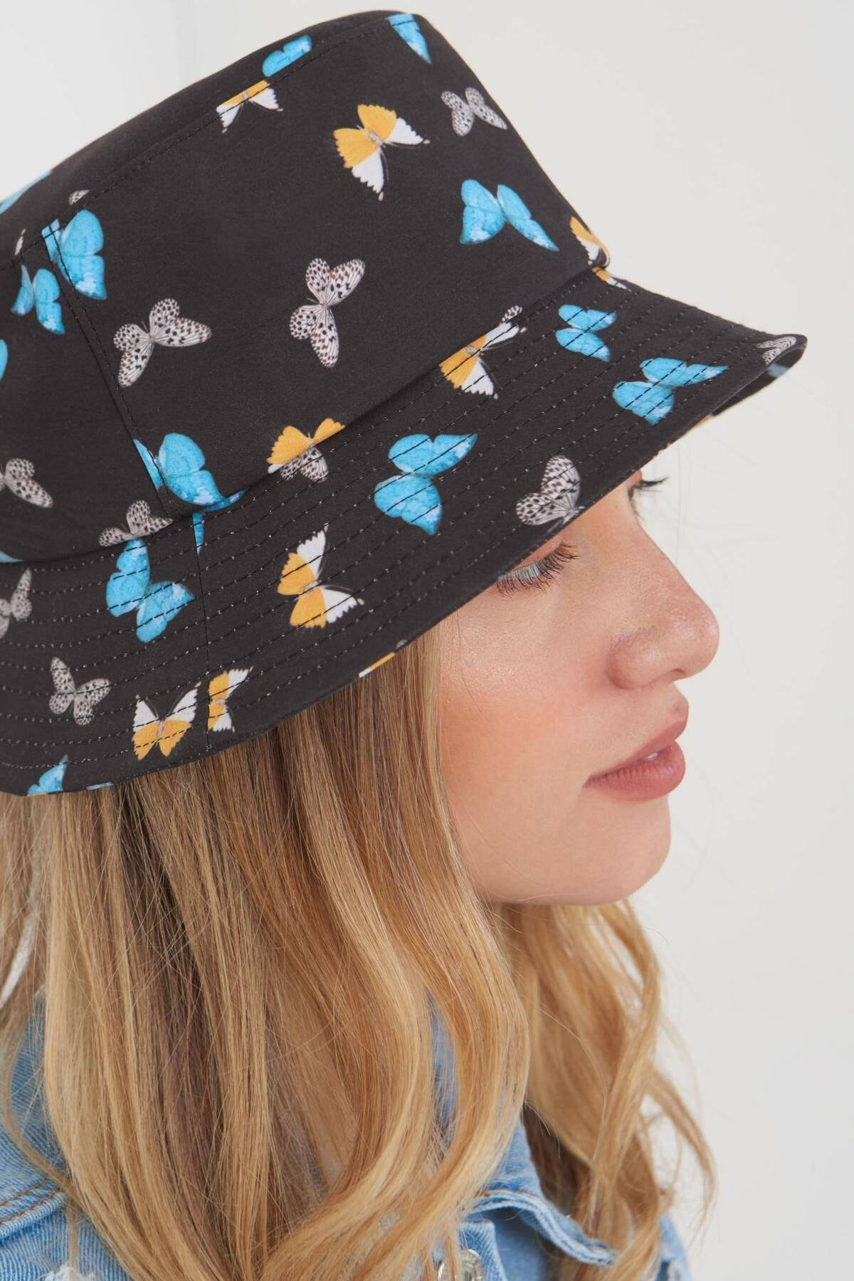 Addax Kadın Siyah Mavi Şapka Şpk1045 - E1 Adx-0000023856 3