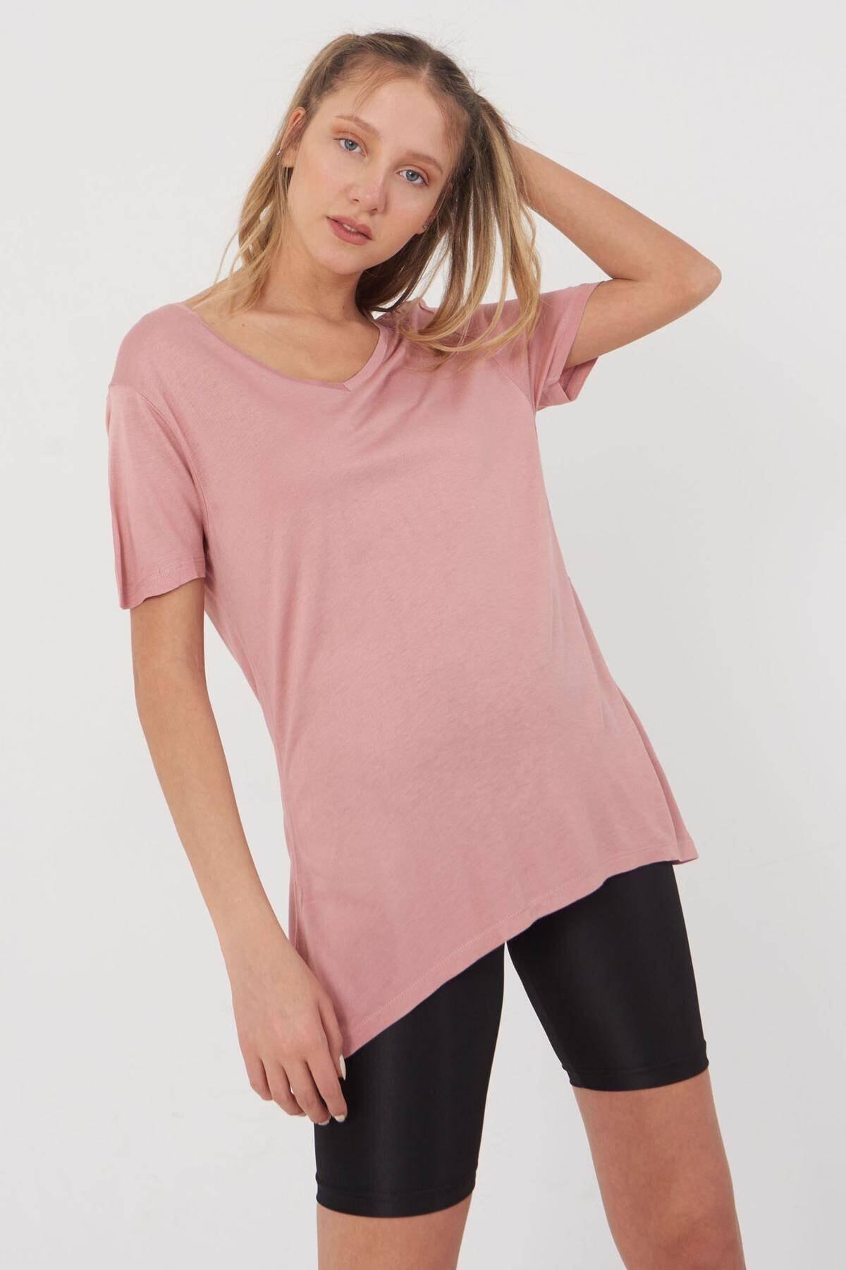 Addax Kadın Pudra V Yaka T-Shirt B0225 - L7 - L8 Adx-00008886 0