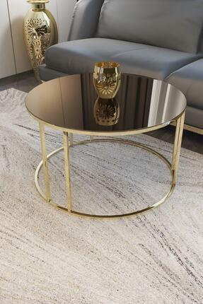 Pukka Sehpa Zigon Ve Orta Sehpa Seti Gold Metal Ayak Bronz Aynalı Takım 1
