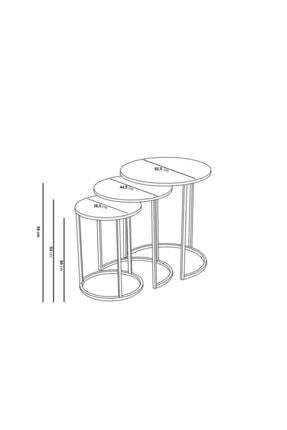 Pukka Sehpa Zigon Ve Orta Sehpa Seti Gold Metal Ayak Bronz Aynalı Takım 4