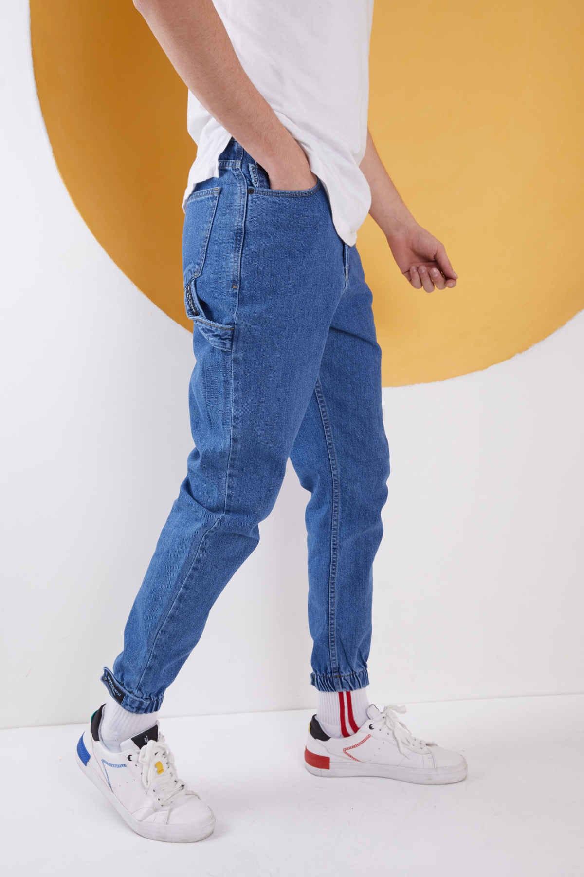 Erkek Mavi Düz Paçası Lastikli Likrasız Boyfriend Kot Pantolon