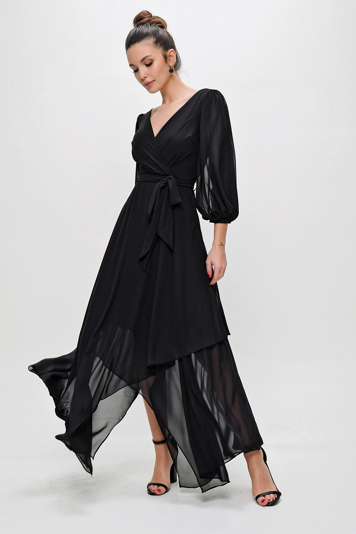 Kadın Siyah Kruvaze Balon Kollu Uzun Şifon Elbise