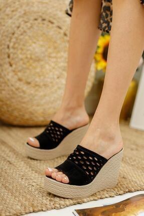 Muggo Kadın Siyah Topuklu Terlik Ays70 1
