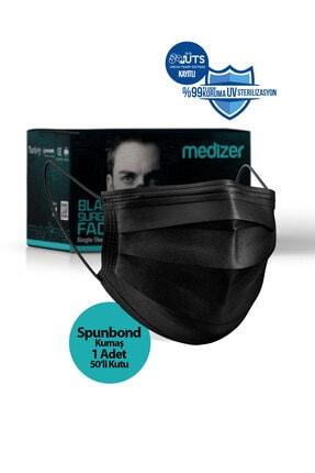 Sabomar Medizer Siyah Burun Telli  Full Ultrasonik Cerrahi Ağız Maskesi 3 Katlı Spunbond Kumaş 50 Adet 0