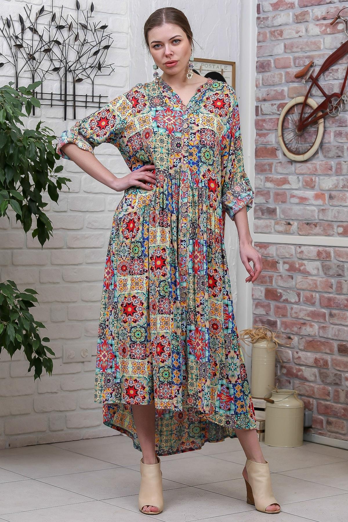 Chiccy Kadın Yeşil  Bohem Ottoman Desenli Ahşap Düğmeli Büzgülü Salaş Elbise M10160000EL95584 1