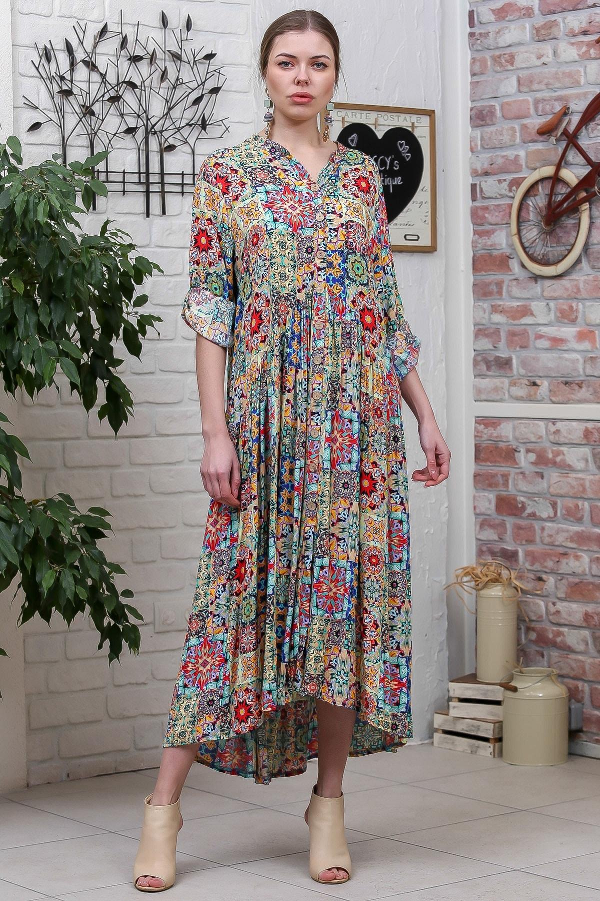 Chiccy Kadın Yeşil  Bohem Ottoman Desenli Ahşap Düğmeli Büzgülü Salaş Elbise M10160000EL95584 2