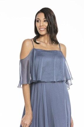 Abiye Sarayı Kadın Mavi Askılı Yırtmaç Detaylı Şifon Elbise 3