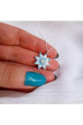 Luz Silver Kadın Papatya Kolye Aquamarin 925 Ayar Gümüş Silver/kaplamasız 2