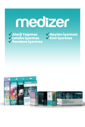 Sabomar Medizer Color Serisi Renkli Full Ultrasonik Cerrahi Ağız Maskesi 3 Katlı 10'lu 3 Kutu - Burun Telli 4